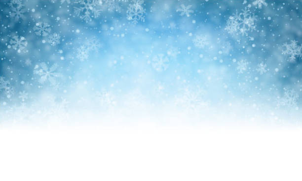 christmas blue background with snow - snow stock illustrations, clip art, cartoons, & icons