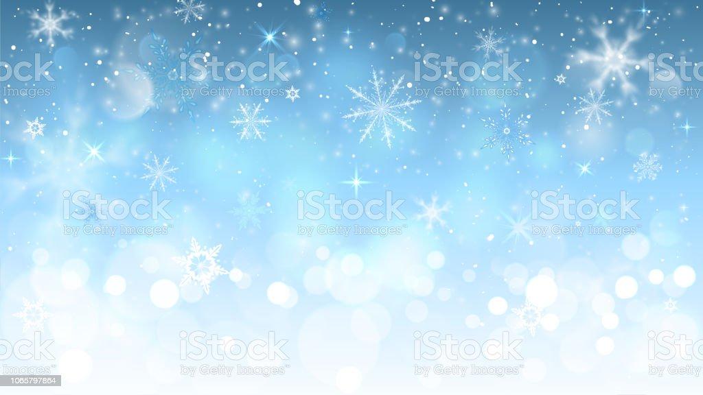 눈송이와 크리스마스 파란색 배경 - 로열티 프리 겨울 벡터 아트