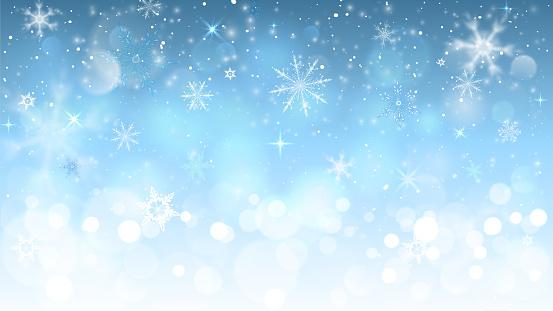 Ilustración de Fondo De Navidad Azul Con Copos De Nieve y más Vectores Libres de Derechos de Abstracto