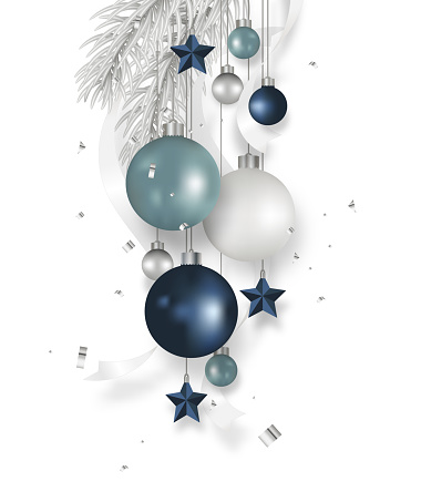 Christmas blue balls decoration with fir tree, ribbon, stars, confetti hanging isolated on white background. Xmas holidays ornament. Vector illustration.