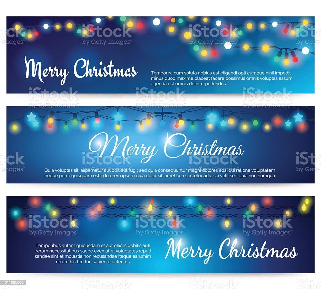 Christmas blue banners with garland - ilustração de arte em vetor