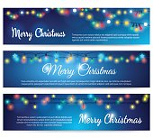 Christmas blue banners with garland