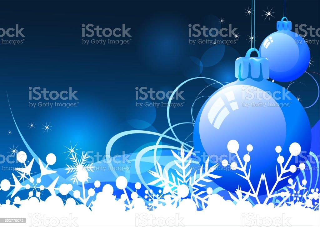 Christmas blue decorations vector art illustration