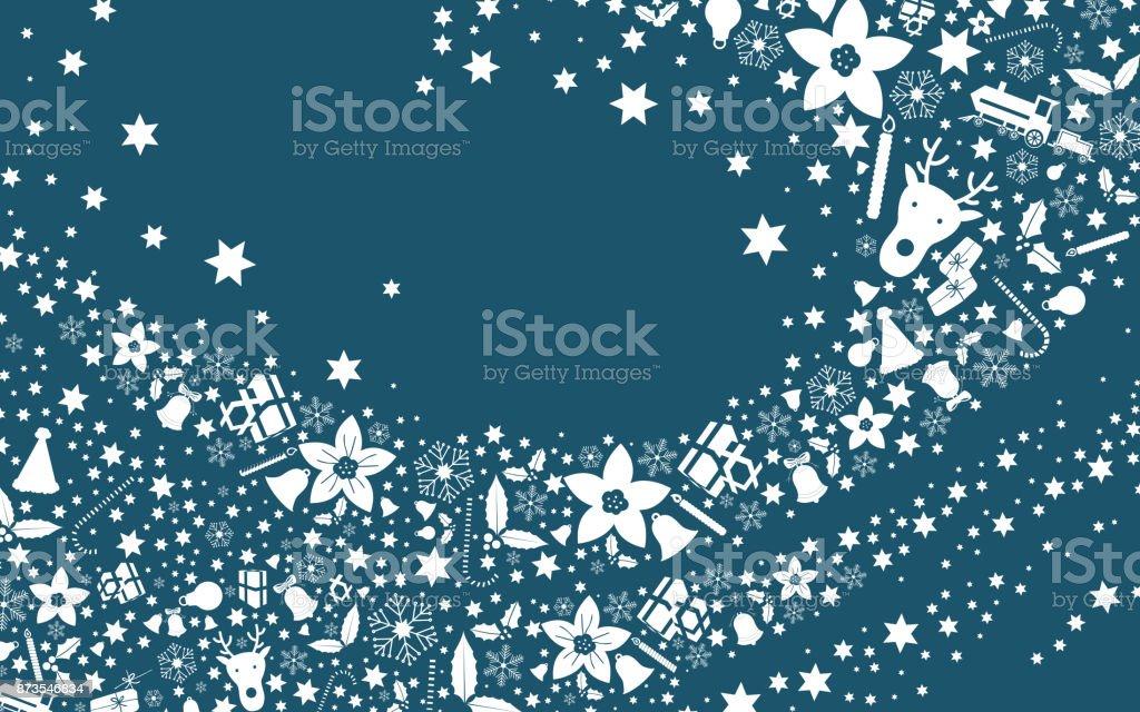 Christmas blue postcard greeting vector art illustration