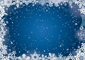 Christmas blue winter background