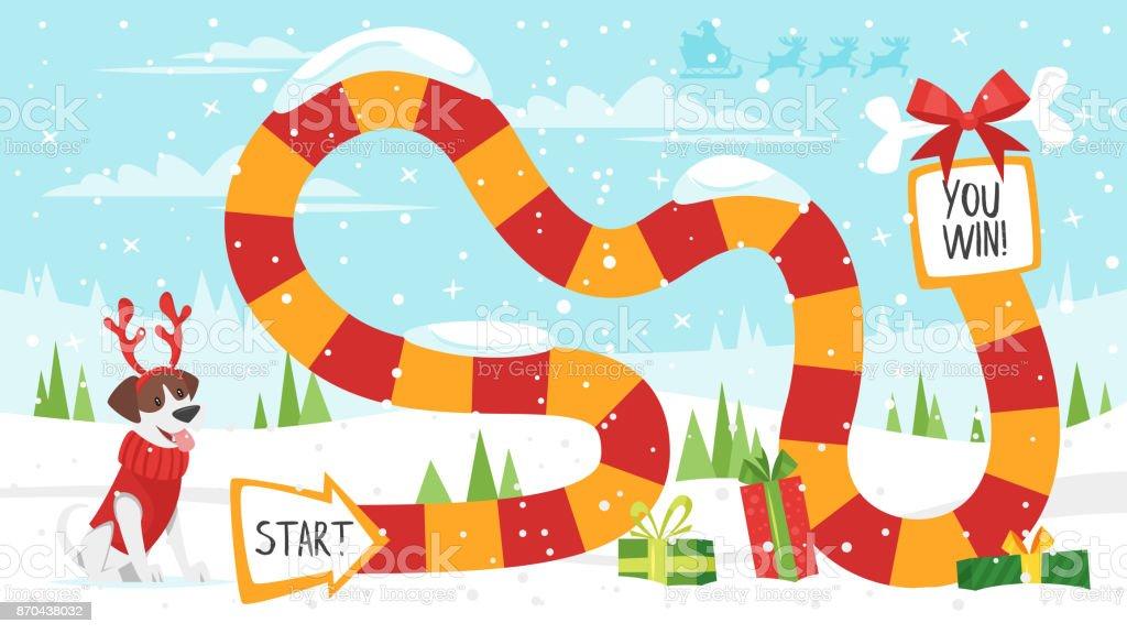 聖誕棋盤遊戲向量藝術插圖