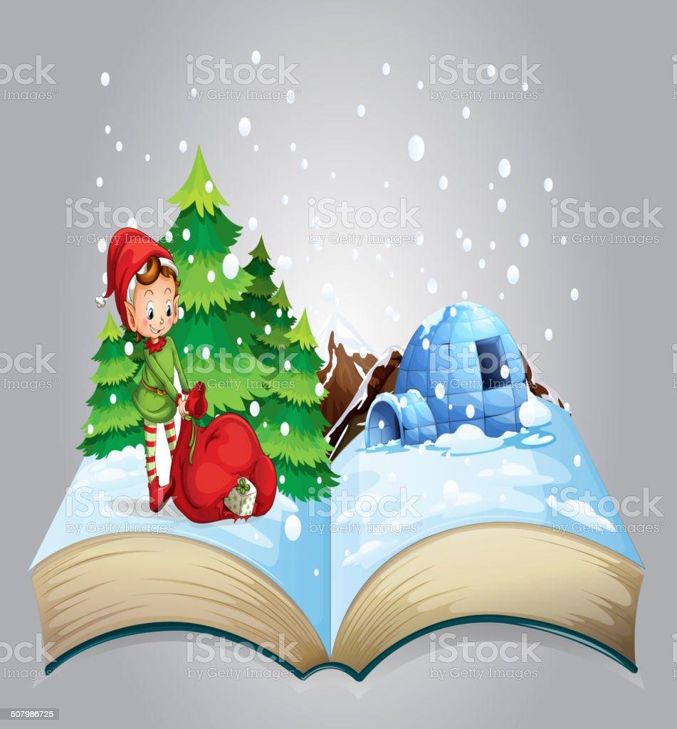 Christmas book vector art illustration