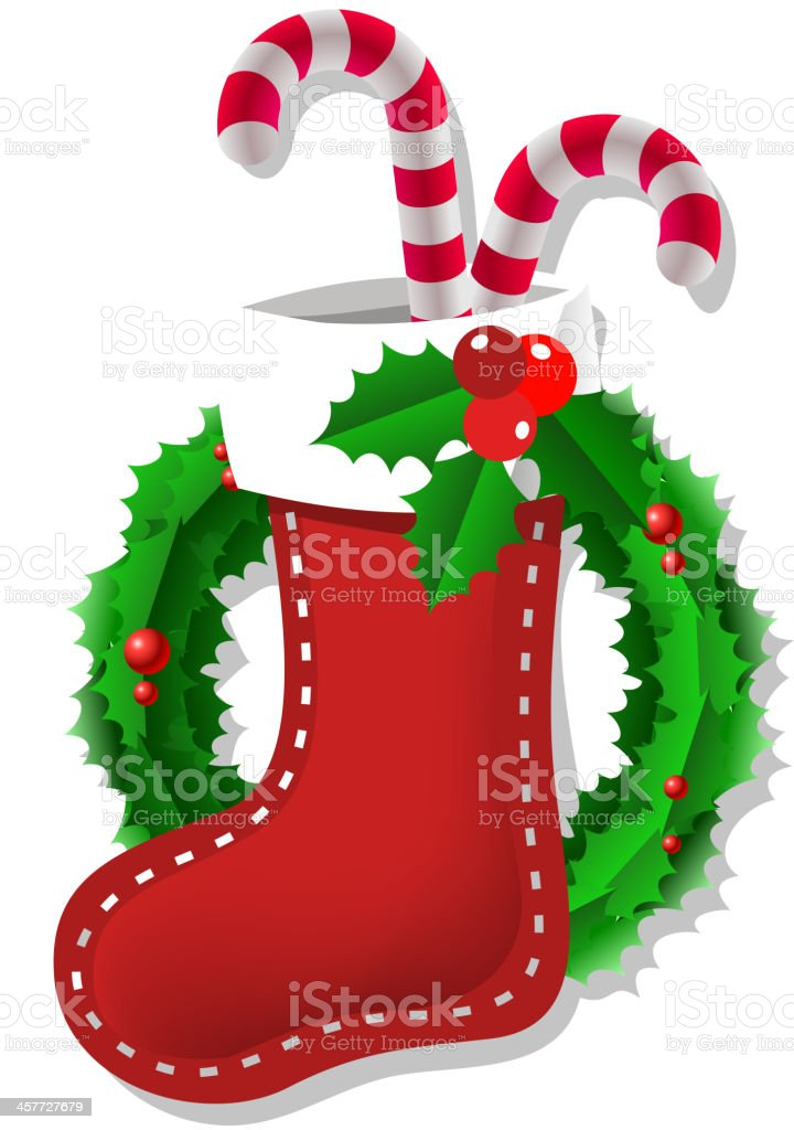 Christmas Decorations Candy Canes Simple Christmas Boot Sock With Candy Canes And Mistletoe Stock Vector Review