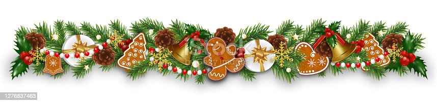 istock Christmas border decorations garland with fir branches, gingerbread cookies, golden bells, holly berries and cones. Design element for Xmas or New Year on white background. Vector 1276837463