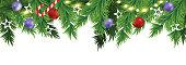 christmas decoration leaves lights border design