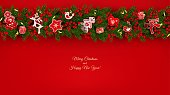 Christmas background with border of realistic fir branches Christmas tree, holly berries, red and white toys in Scandinavian style with place for text, vector illustration