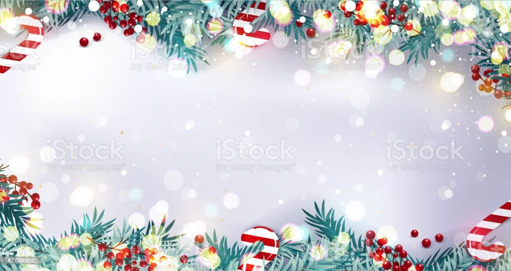 Christmas border or frame with fir branches, berries and candy isolated on snowy background. vector art illustration