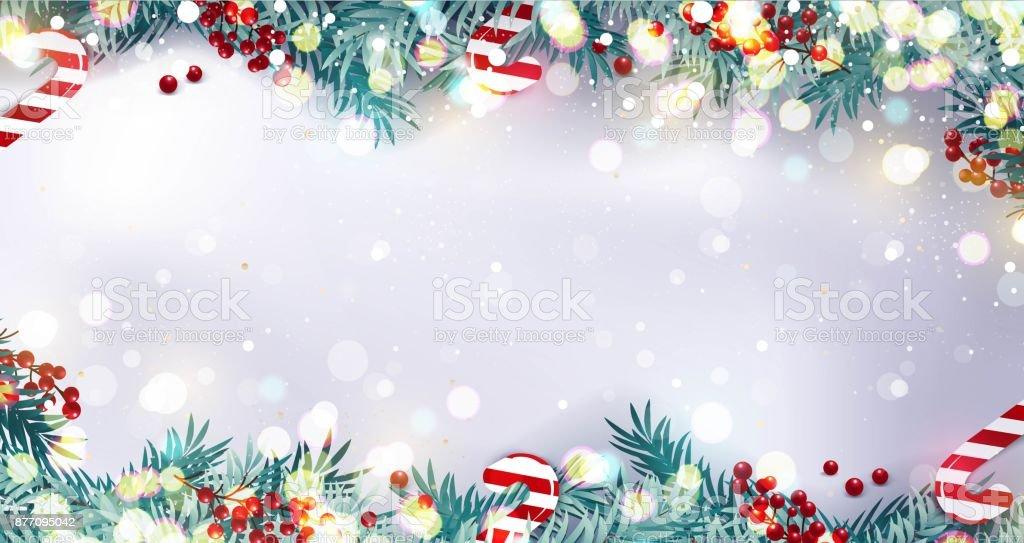 Weihnachten-Rand oder Rahmen mit Tannenzweigen, Beeren und Süßigkeiten auf verschneiten Hintergrund isoliert. – Vektorgrafik