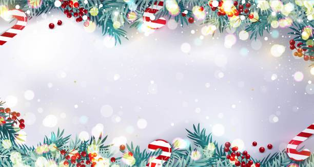 Christmas border or frame with fir branches, berries and candy isolated on snowy background. Christmas border or frame with fir branches, berries and candy isolated on snowy background. Vector illustration holiday background stock illustrations
