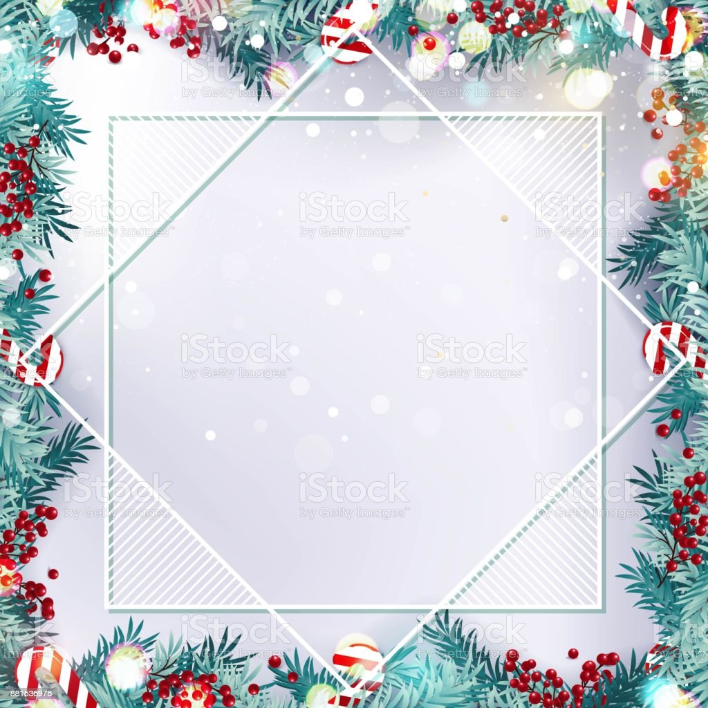 Navidad Frontera O Marco Con Ramas De Abeto Frutos Y Dulces Aislado ...