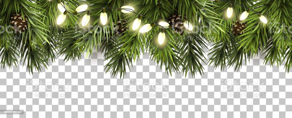 モミの枝および透明な背景に松ぼっくりのクリスマス罫線 ベクターアートイラスト