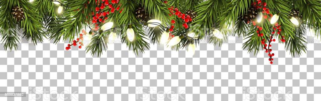 Weihnachten-Grenze mit Tannenzweigen und Tannenzapfen – Vektorgrafik