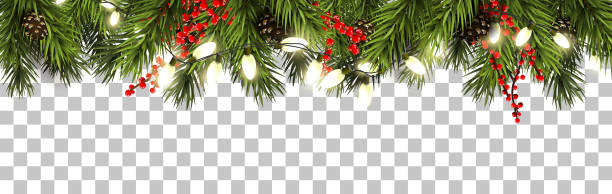ilustrações de stock, clip art, desenhos animados e ícones de christmas border with fir branches and pine cones - christmas lights