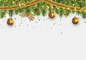 Christmas border with fir branches, string lights garland and gold tinsel, golden balls. Xmas holiday vector illustration.