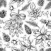 Christmas botanical seamless pattern. Hand drawn vector background. Xmas plants. Holiday engraved decorations. Holly, mistletoe, poinsettia, fir tree, pine cone, cotton,berry Great for holiday decor