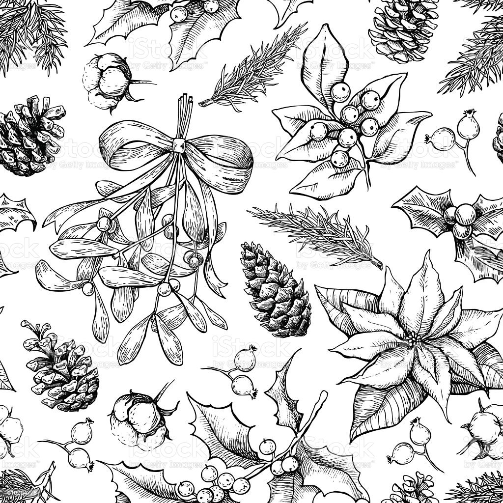 Christmas botanical seamless pattern. Hand drawn vector backgrou vector art illustration