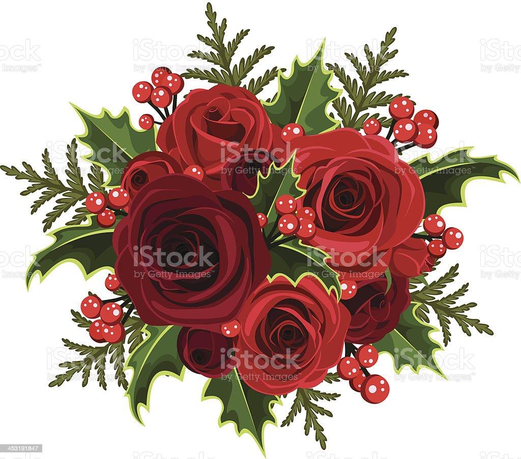 Weihnachten Brautstrauß Mit Rosen Und Holly Vektorillustration Stock ...