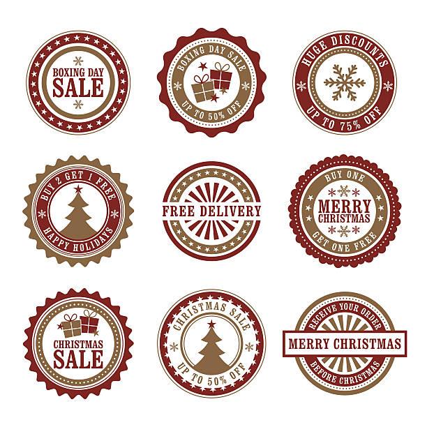 クリスマスショップバッジ&ボクシングデー - 勤労感謝の日点のイラスト素材/クリップアート素材/マンガ素材/アイコン素材