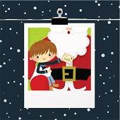 Christmas, boy and Santa Claus photo