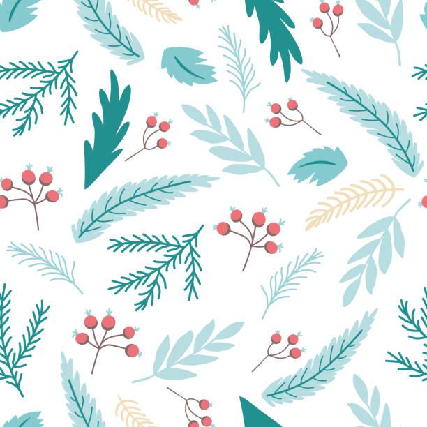 stockillustraties, clipart, cartoons en iconen met kerst tak print winter naadloze patroon met holly bessen fir takken blauwe achtergrond vector - december