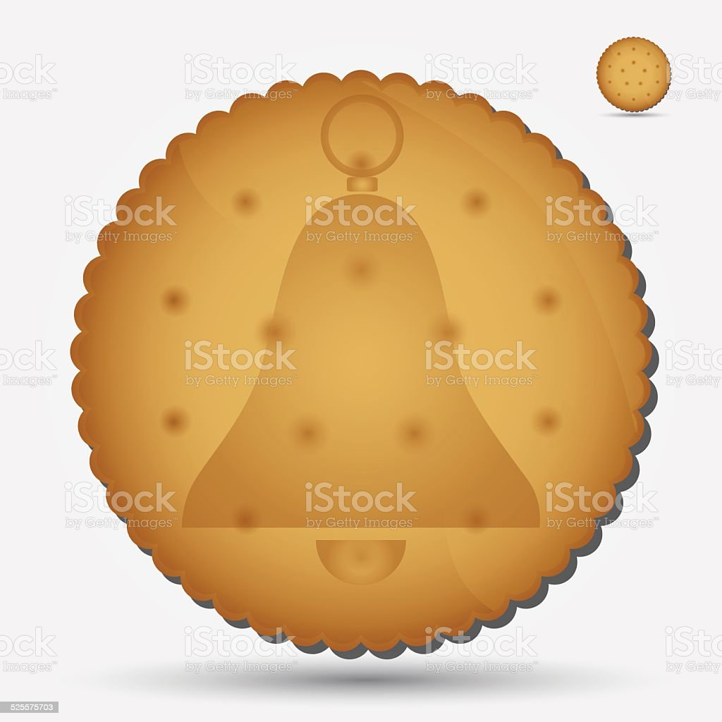 christmas brown biscuit with bell symbol eps10 vector art illustration
