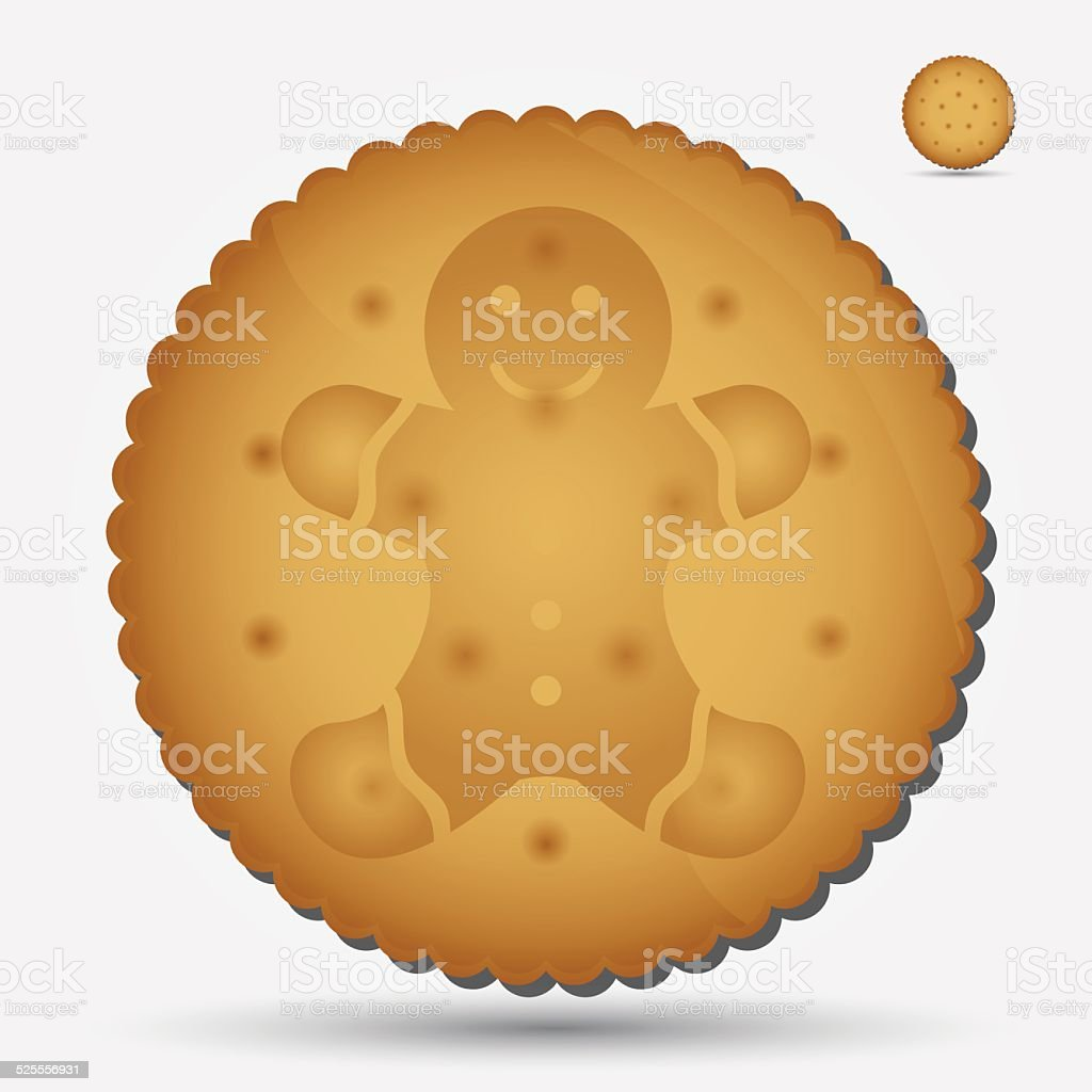 christmas brown biscuit with gingerbread symbol eps10 vector art illustration