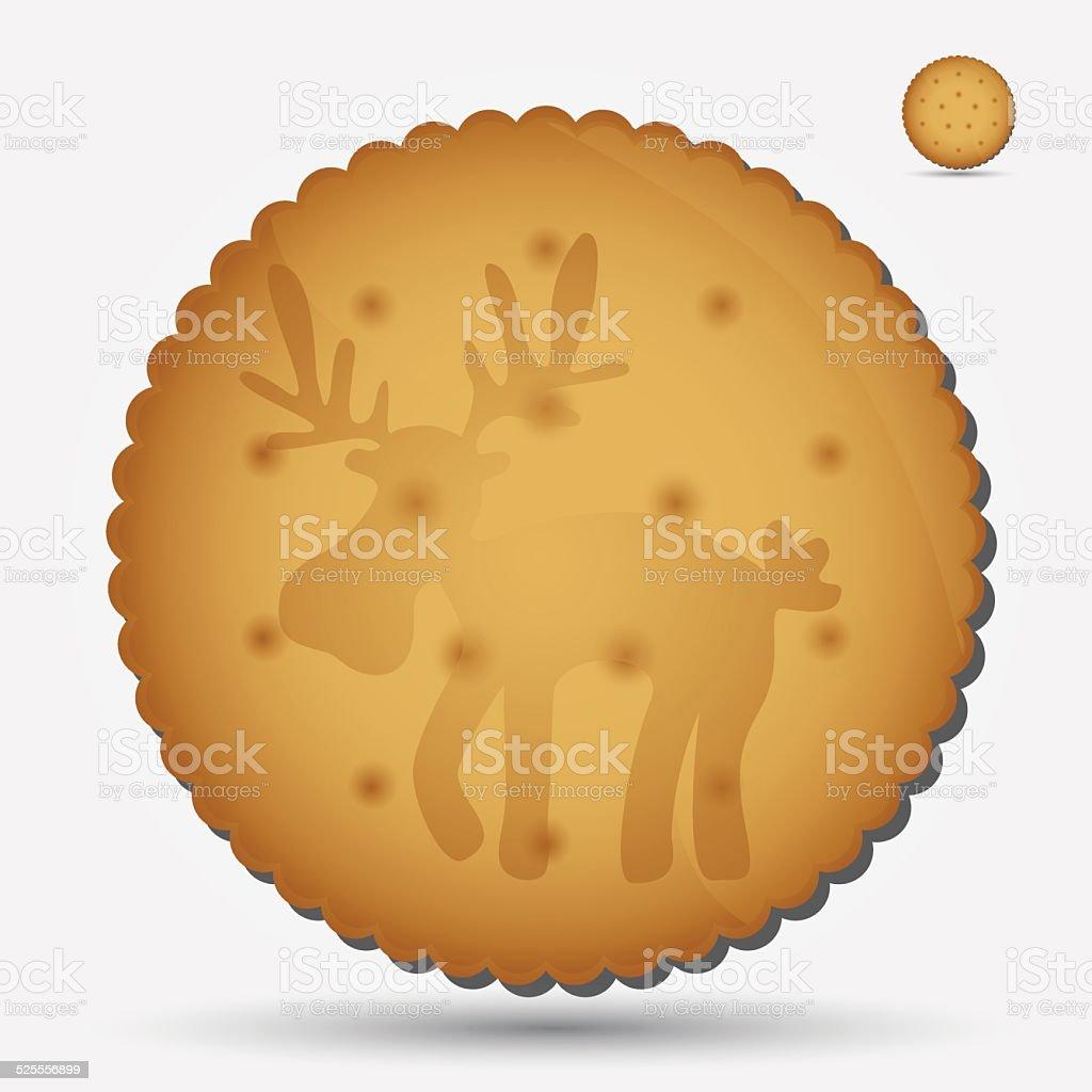 christmas brown biscuit with reindeer symbol eps10 vector art illustration