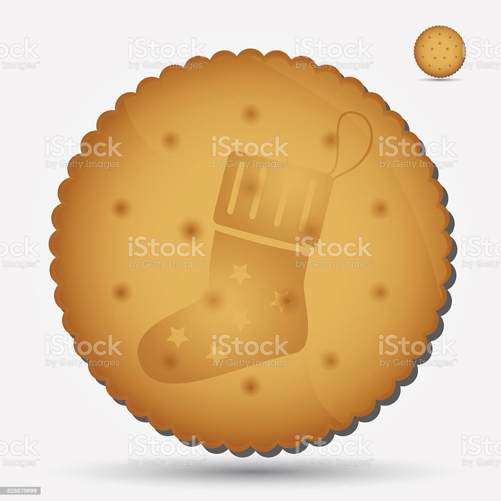 christmas brown biscuit with sock symbol eps10 vector art illustration