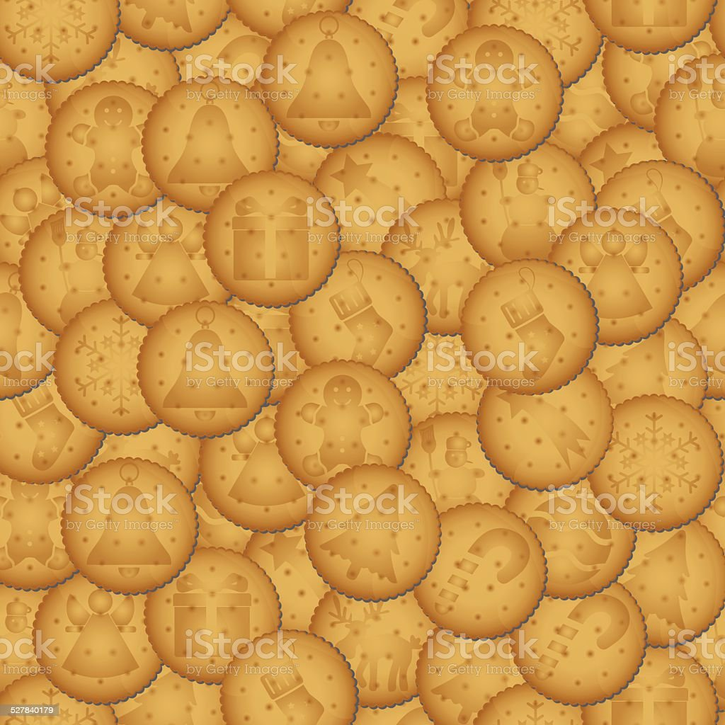 christmas brown biscuit with symbols seamless pattern eps10 vector art illustration