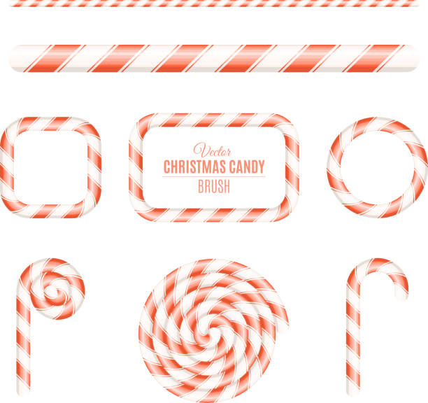 Christmas brush of red and white lollipop. Sugar Christmas lollipop. Frames of candy. Candy for the holiday. New Year. Vector illustration Christmas brush of red and white lollipop. Sugar Christmas lollipop. Frames of candy. Candy for the holiday. New Year. Vector candy borders stock illustrations