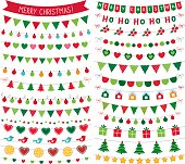 Christmas bunting decoration, isolated vector design elements set