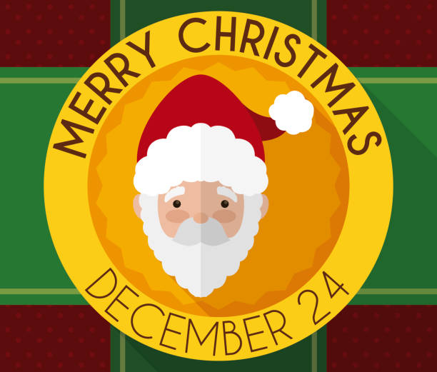 christmas button with santa claus design, ribbons and gift paper - secret santa messages stock illustrations