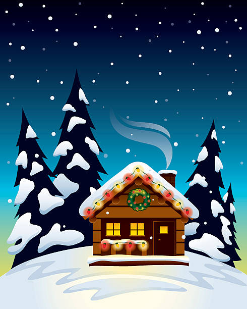 stockillustraties, clipart, cartoons en iconen met christmas cabin - christmas cabin
