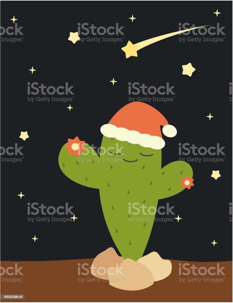 christmas cactus with santa's hat funny holidays vector illustration vector art illustration