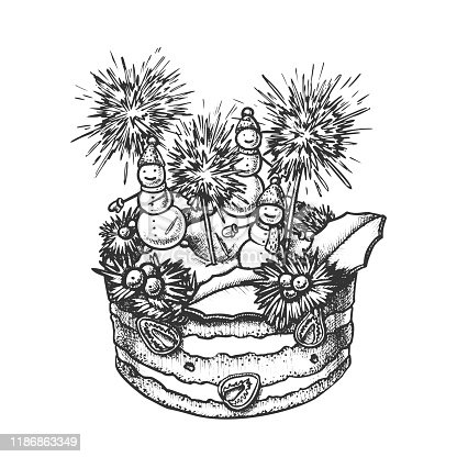 Christmas Cake Decorated With Snowmen Ink Vector