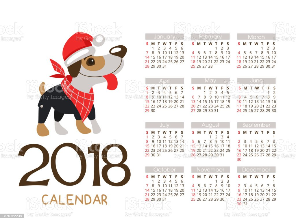 Christmas Calendar 2018 Vector File The Dog Is The Symbol Of The