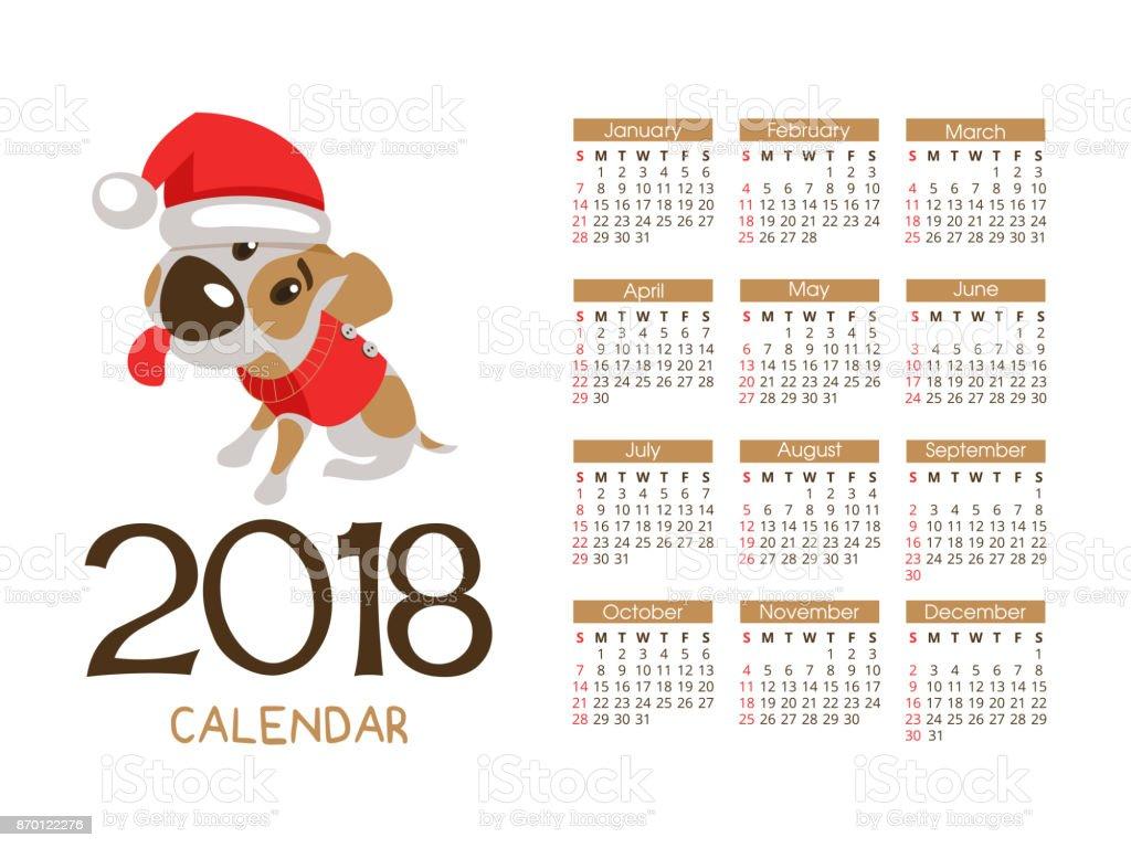 Weihnachtskalender Hund.Weihnachtskalender 2018 Vektordatei Der Hund Ist Das Symbol Des