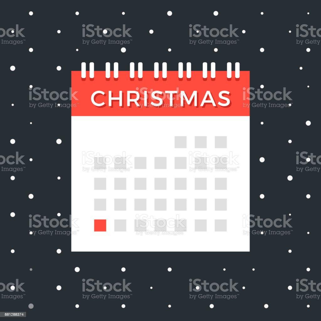 Weihnachten Datum.Weihnachtskalender Vektorkalender Mit Dezember 25 Rote Datum