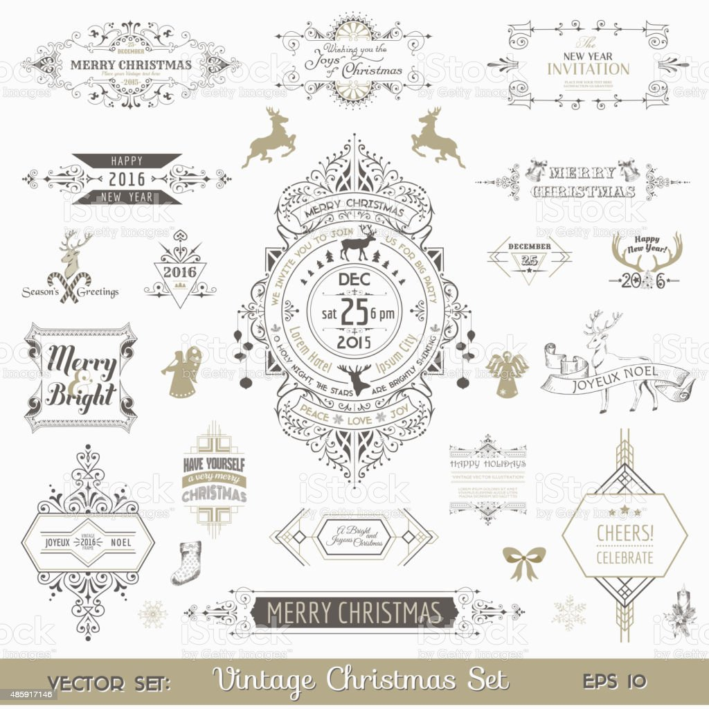 Christmas Calligraphic Design Elements and Page Decoration vector art illustration