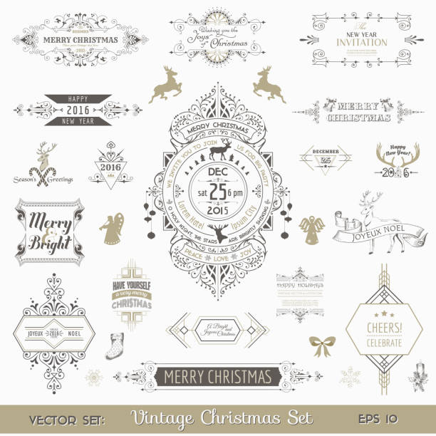 christmas calligraphic design elements and page decoration - winter fashion stock illustrations, clip art, cartoons, & icons