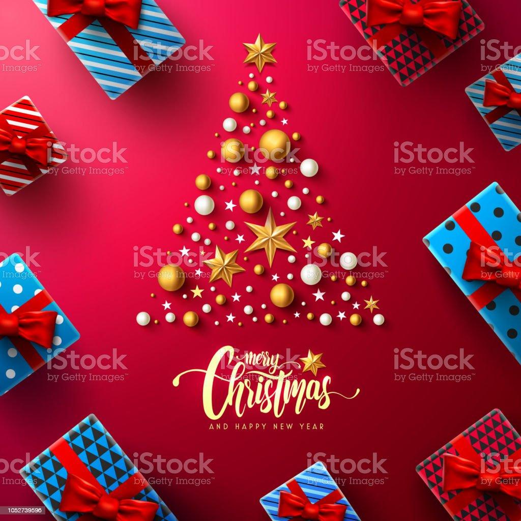 크리스마스 크리스마스 트리, 크리스마스 장식 요소와 선물 상자 레드 바탕에 붓글씨 비문. 메리 크리스마스 그리고 해피 뉴가 어 크리스마스 프로 모션 배너 서식 파일에 대 한 개념. 벡터 일러 - 로열티 프리 12월 벡터 아트