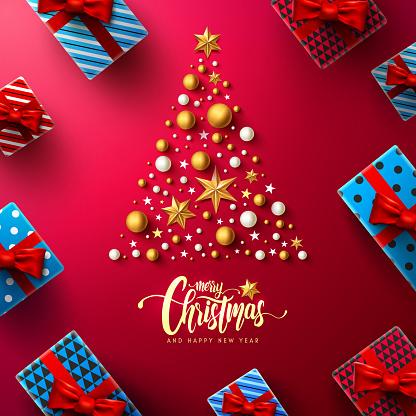크리스마스 크리스마스 트리 크리스마스 장식 요소와 선물 상자 레드 바탕에 붓글씨 비문 메리 크리스마스 그리고 해피 뉴가 어 크리스마스 프로 모션 배너 서식 파일에 대 한 개념 벡터 일러 12월에 대한 스톡 벡터 아트 및 기타 이미지