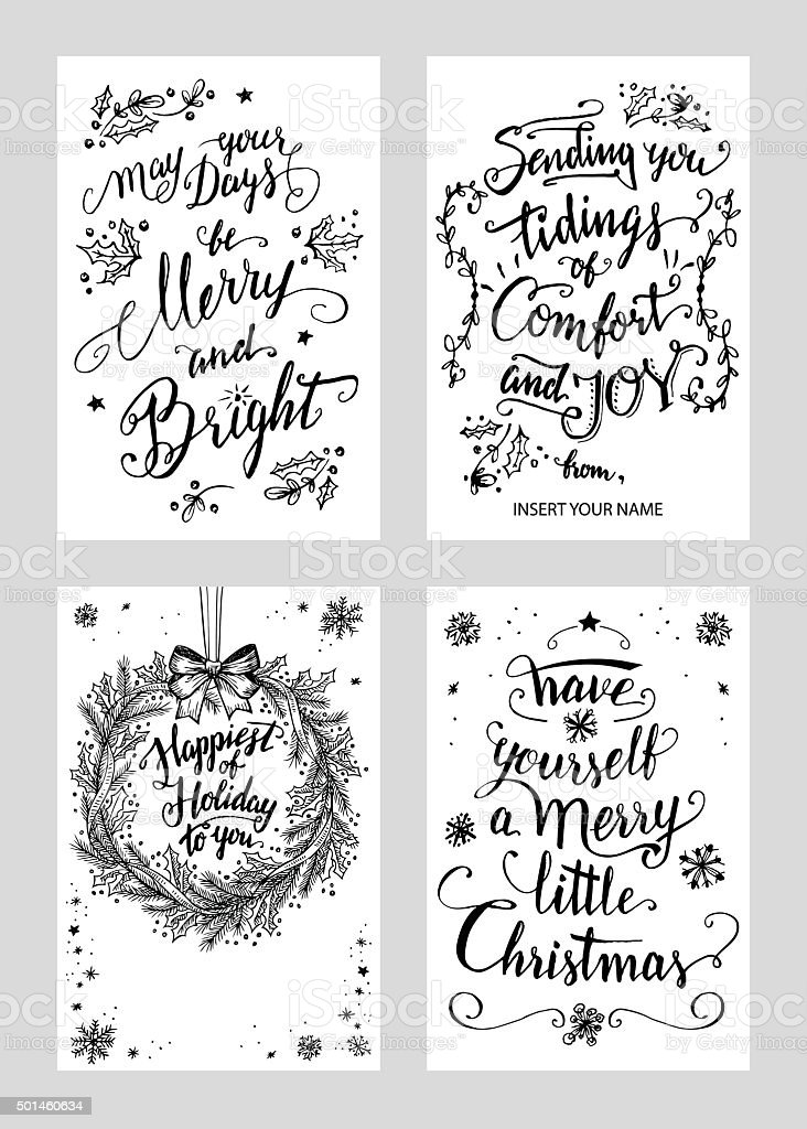 Christmas calligraphy greeting cards set vector art illustration