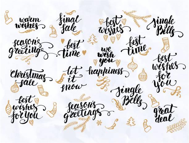 ilustraciones, imágenes clip art, dibujos animados e iconos de stock de christmas calligraphy set - festividades y de temporada