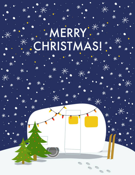 Top 60 Christmas Camping Clip Art Vector Graphics And Illustrations